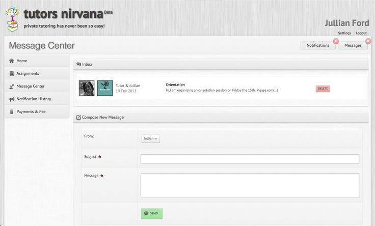 Message Centre - Keep in touch with parents and students. http://www.tutorsnirvana.com/features