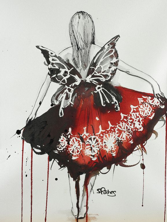 "Saatchi Online Artist: Sara Riches; Ink 2013 Drawing ""Chloe's Dress"" #art #pen and ink #red dress #fairy"