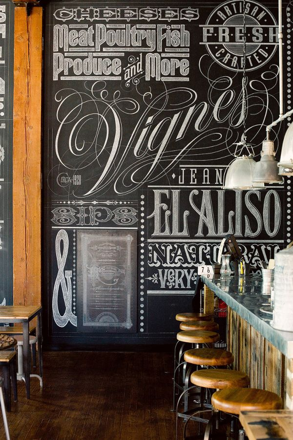 Eat Drink Americano in LA #chalk #handwritten #typography #rustic #reclaimed #bar #restaurant