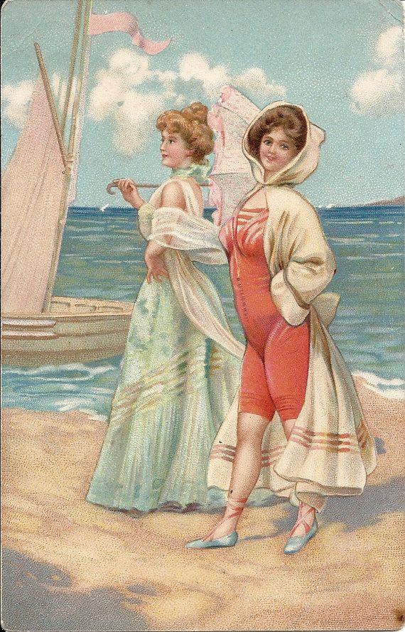Badenixen frech am Meer Edwardian Postkarte Farbe von jollybloom