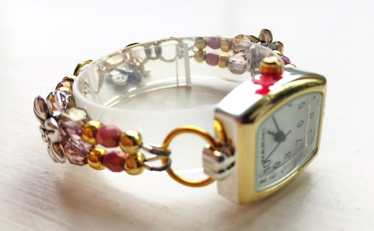 "Bracelet watch, SMALL, floral, plum, lilac, gold, and antique silver, approx. 5 3/4"" - 6 3/4"" (15 - 16 cm), adjustable, SMALL by ShereesTrinketBox on Etsy"
