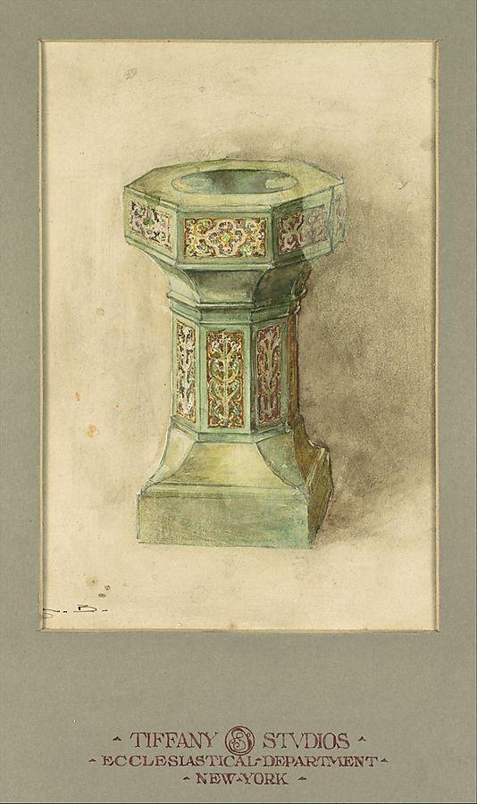 Design for baptismal font  Louis Comfort Tiffany (American, New York City 1848–1933 New York City)  Maker: Tiffany Studios (1902–32) Date: ca. 1902–20 Geography: Mid-Atlantic, New York, United States Culture: American