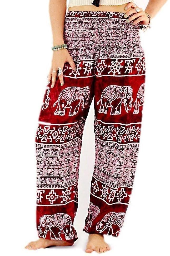 Harem Trousers One Size Beach Yoga Festival Baggy Elephant Print Indian Red Boho