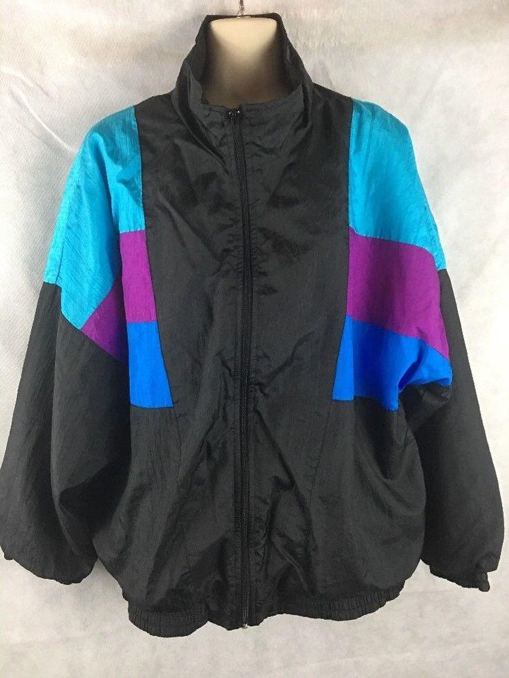 LAVON Womens  Windbreaker Vibrant Colors Full Zip Jacket  Size Large #Lavon #Windbreaker #Casual