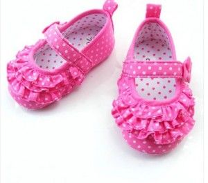 Pink Cute Infant Girls Soft Bottom Polka Dot Shoes
