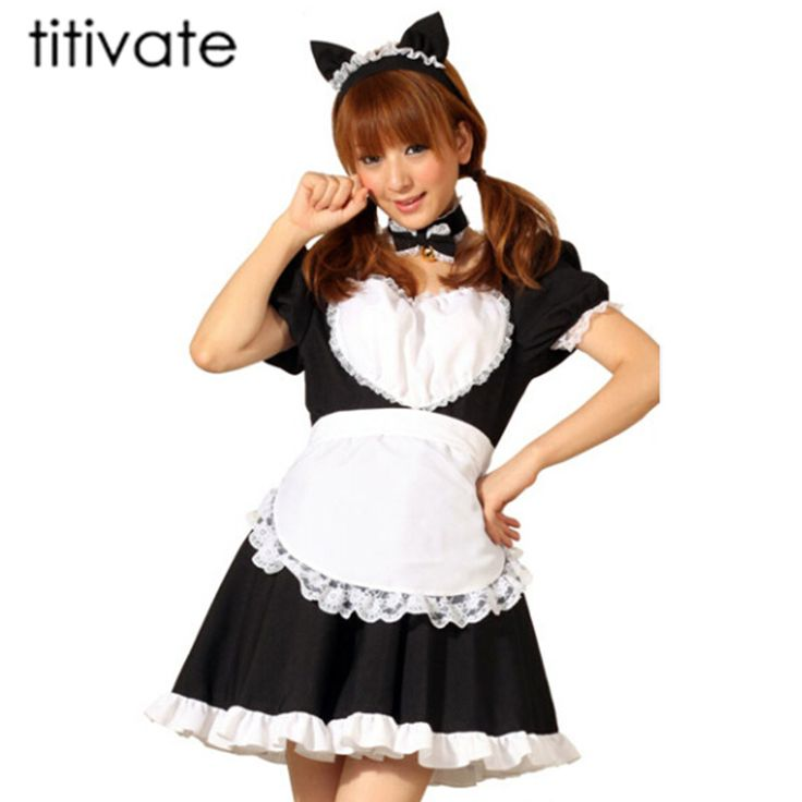 TITIVATE New Sexy French Maid Costume Lolita Dress Anime Cosplay service Maid Uniform Halloween Costumes For Women #Affiliate