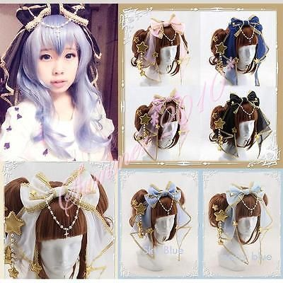 Limited Handmade Lolita Cute Hairband Veil Bow Golden Stars Cross Chain Headband in Clothing, Shoes & Accessories, Women's Accessories, Hair Accessories | eBay