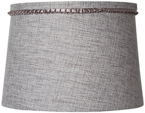 Gray Tweed Pleated Trim Drum Shade 12x14x10 (Spider) by Universal Lighting and Decor. $49.99. The relaxed style of this glittery gray tweed drum shade will be a comforting addition to a favorite lamp. Decorative pleated ribbon trim surrounds the top of this lovely unlined shade. The correct size harp is included free with this purchase.