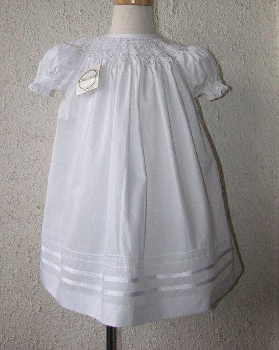 Smocked Christening gown for baby girl, white dress, smocked Baptism dress, szs 6m, 18m on Etsy, $55.00