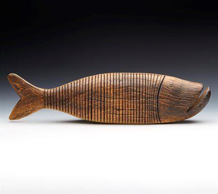 Superb Large Vintage Articulated Wooden Fish Sculpture 20Th C.