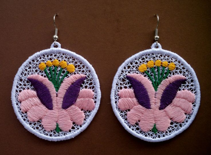 Nagy kalocsai virág mintás fülbevaló