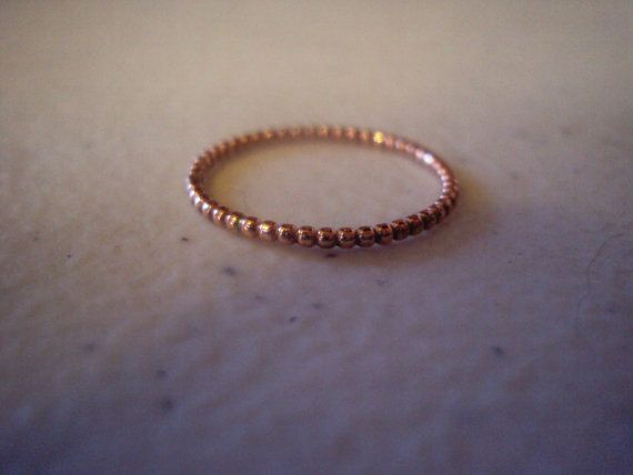 Rose gold ring:beaded ring, pink gold ring,engagement ring, wedding band, gift , 10kt gold 1.25mm , 16g thick,
