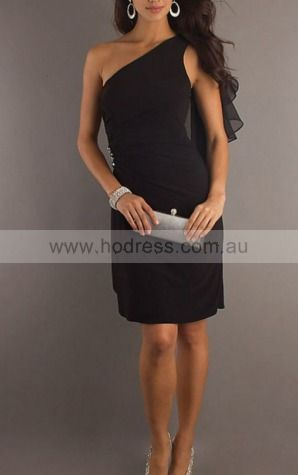 Sheath One Shoulder Knee-length Chiffon Natural Formal Dresses gt2432--Hodress