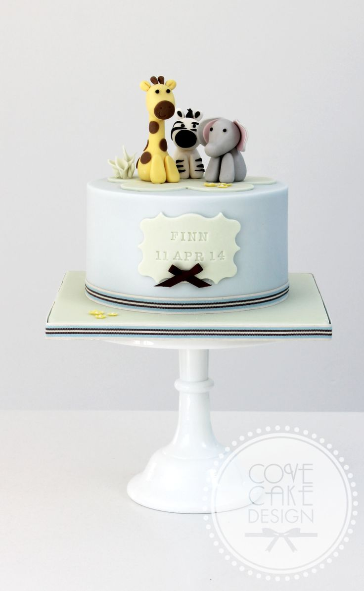 Baby zoo animals christening baby shower cake birthday cake