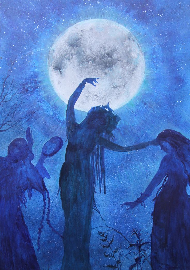 Trinity of the Moon is a magicalpainting,made by Izabela Ewa Ołdak a spiritual artist from Poland. Technique: acrylic on canvas,size: 100x70cm, year: 2016.    The Moon is first the light of the night in the sky. It illuminates the earth on full moon nights and plunges it into the mystery of darkness until the new moon. This phenomenon of constant emergence, growth and disappearance of the moon symbolizes life, death and rebirth. It stands for fertility, water element, female and growth…