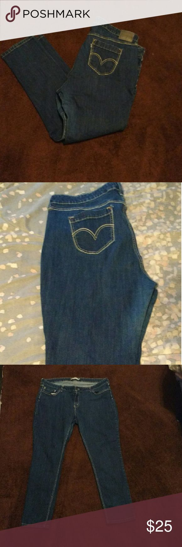 """Levi's Mid-Rise Jeans Good pair of jeans with nice thick material. Thighs have a slight loving between them but I didn't actually wear them as often as I do other jeans. Real pockets. (Last pic says """"Mid-rise Skinny. 22w) I'm normally a regular 22 so I would out these in the straight leg Category but if you have bigger calves, these would be 'skinner'.  🌼Great Quality! 🌼 ⚠NO TRADES⚠  🎁 Use the BUNDLE feature! 🎀  😘Make Me an offer! Levi's Jeans Straight Leg"""