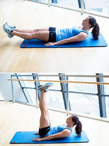 Work your abs, back, quadriceps, and hip flexors with lying straight leg raises. #exercise #workout #fitness