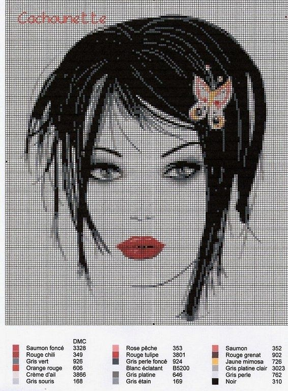 point de croix visage femme moderne - cross-stitch modern girl's face