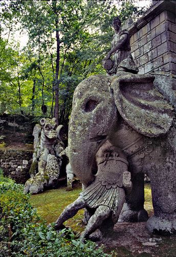 Sculptures at the Park of Monsters in Bomarzo,Italy
