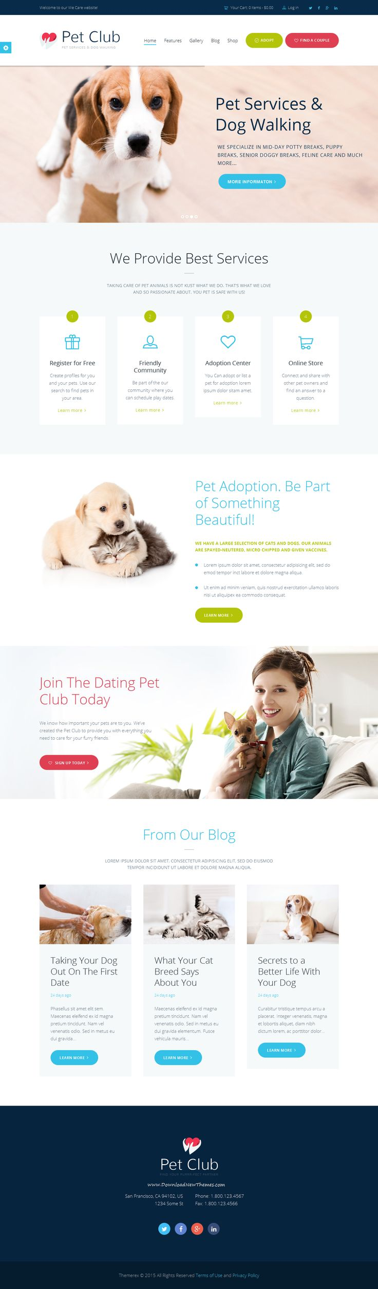 #Pet Club is an ideal WordPress theme if you seek to build a #website for pet store, veterinary clinic, dog training classes, animal shelters and pet hotels, dog / cat trainers, or pet caretakers, as well as adoption centers or animal community, including animal dating club! download now➯ http://themeforest.net/item/pet-club-services-adoption-dating-community/12949703?ref=Datasata
