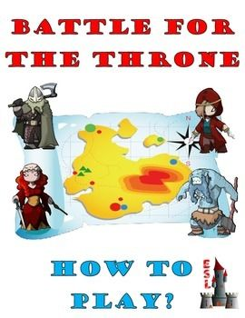 BATTLE FOR THE THRONE is a classroom game that can be used by any teacher with almost no preparation. It is a strategy game, the goal of the game is to conquer the other clans. The only things that need to be done are to divide the students into 4 teams and to prepare a set of questions.