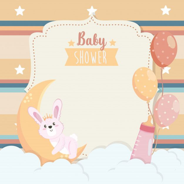 Download Card Of Cute Rabbit With Moon And Feeding Bottle For Free Baby Boy Favors Cute Christmas Backgrounds Kids Vector