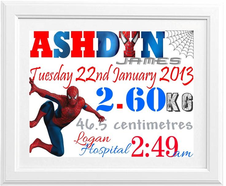 Birth Print Spiderman