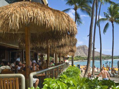 Duke's Bar & Canoe Club on Waikiki Beach - Honolulu, Oahu, Hawaii - Hula Pie w/ ocean view table.