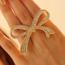 Classical Fashion Trend BlingBling Full Rhinestone Bow Open Finger Ring for Women Girls(China (Mainland))
