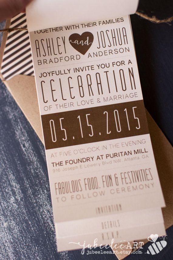 Booklet style modern wedding invitation printable by JubeeleeArt