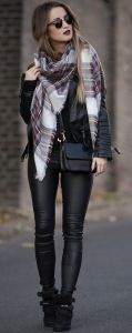 Burgundy plaid blanket scarf with an all black outfit
