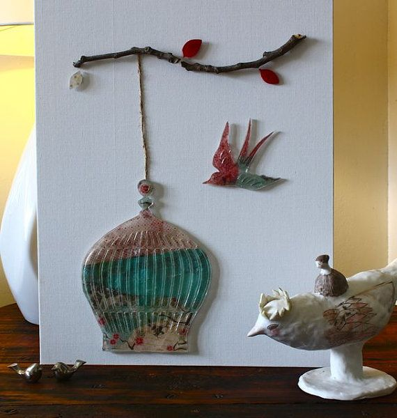 Resin bird cage hanging from a branch with by TheFlightyFlamingo