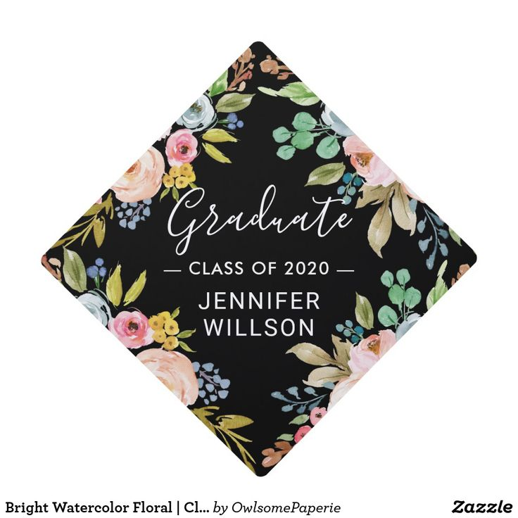 Bright Watercolor Floral | Class of 2019 Graduate Graduation Cap Topper | Zazzle.com
