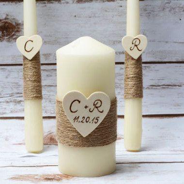 Unity Candle Set Rustic Unity Candle Burlap by HappyWeddingArt