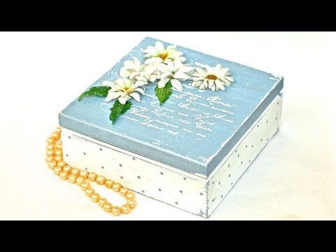 Sospeso pudełko ze stokrotkami decoupage 3D - YouTube