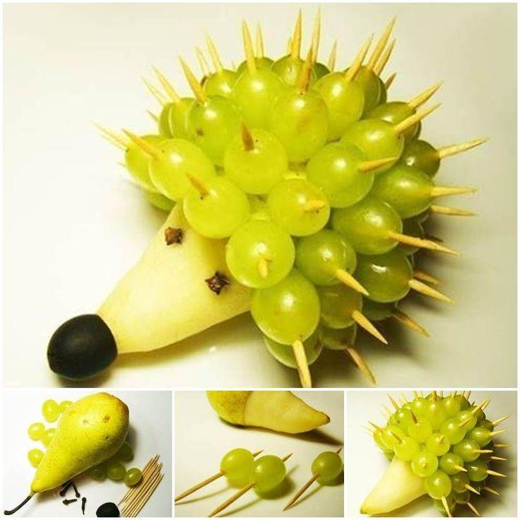 Super Cute And Healthy Fruit Hedgehog Snack Such A Fun Snack For Kids Animales Con Frutas Fruta Para Niños Comida Creativa Para Niños