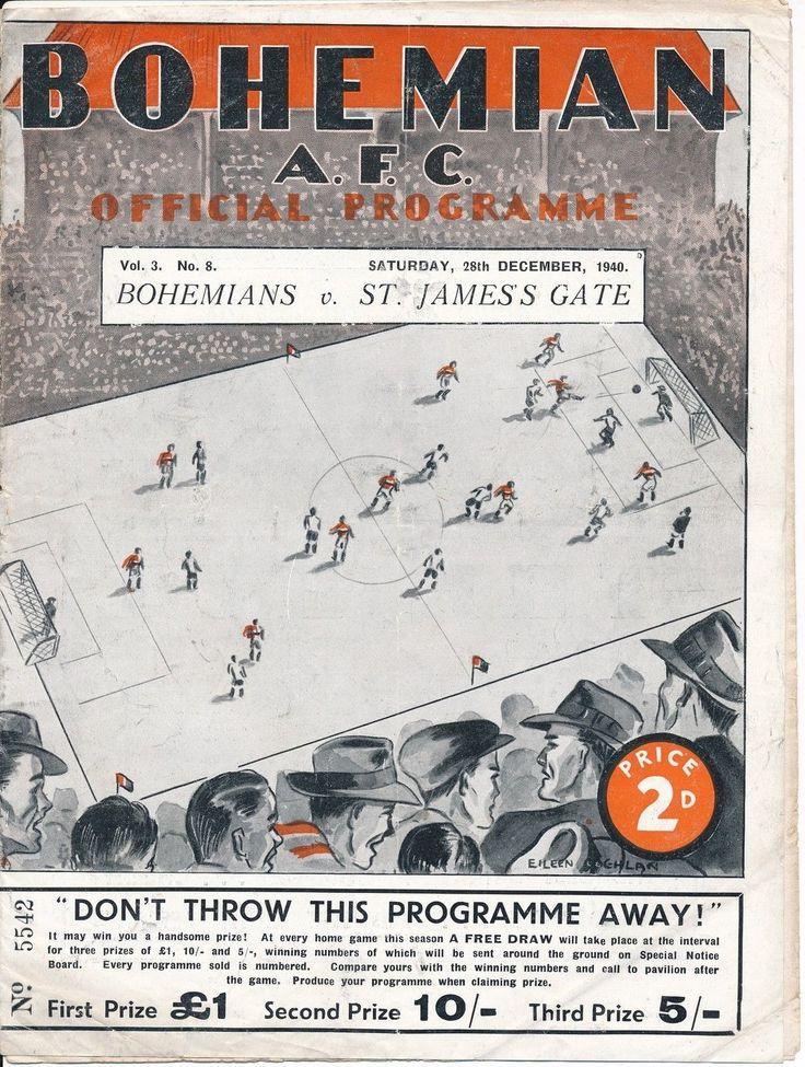 League of Ireland programme - Bohemians v St James's Gate (Guinness) 1940