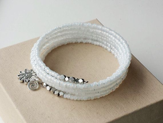 White Bracelet Silver Beads White Wire Bracelet by DesignsbyKarenS