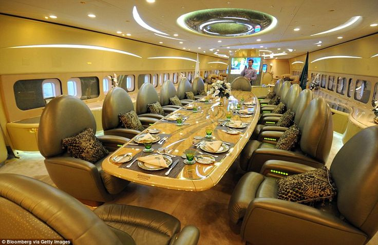 The dining facilities on board Saudi Prince Al-Waleed bin Talal's private Boeing 747.