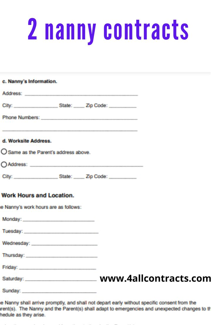 Nanny Contract Sample Template In 2021 Nanny Contract Template Nanny Contract Nanny Agencies Part time nanny contract template