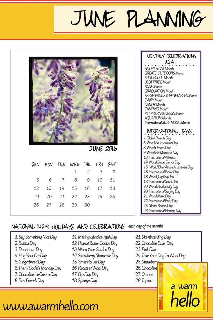 June Planning Time! Come visit www.awarmhello.com and Download your Free Planner Page!