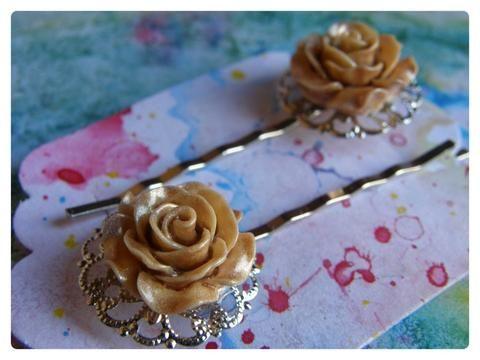 Elegant Hair Pin Pair -  Pale Gold Rose