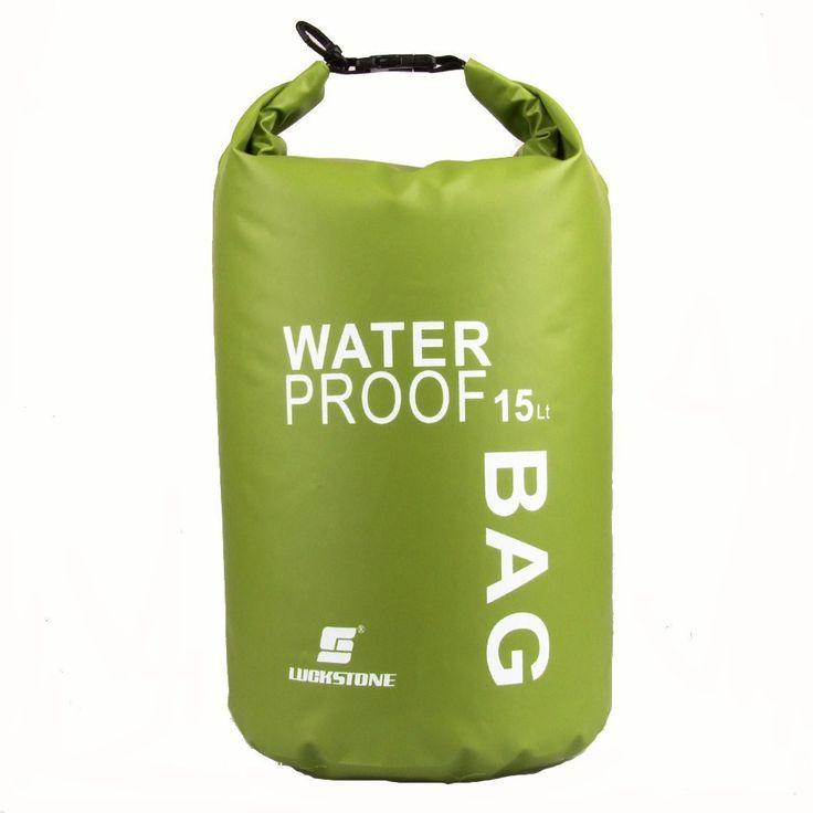 New Sale LUCKSTONE Waterproof Bag Pouch for Camping Kayak Fishing Rafting Canoe-kayak 15L Green/Blue/Orange/White