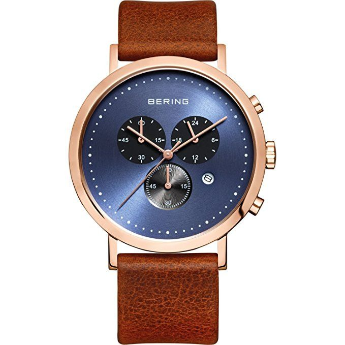 BERING 10540-467 Men's Watch Rose Gold Stainless Steel Chrono Brown Leather Strap