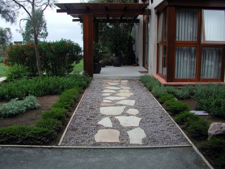 Gravel path with stepping stones outside in the garden for Stone stepping stones for garden paths