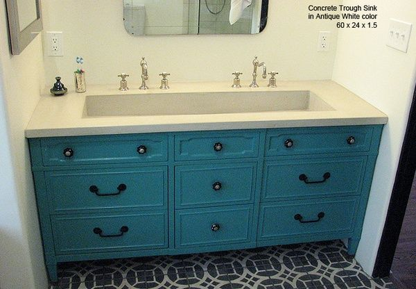 trough sink, blue vanity and floor tile pattern: Bathroom Sink, Big Sink, Trough Sink, Master Bathroom, Double Sinks, Farmhouse Sink