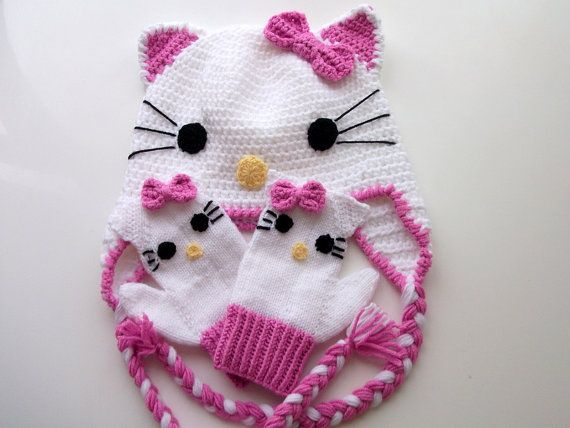 Uncinetto Kitty Hat e kitty guanti-per bambino di myknittingworld