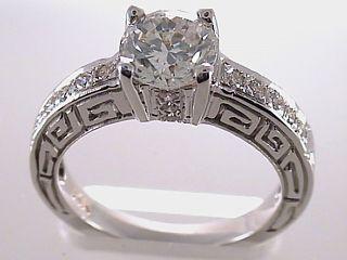 Engagement ring in Greek Key design