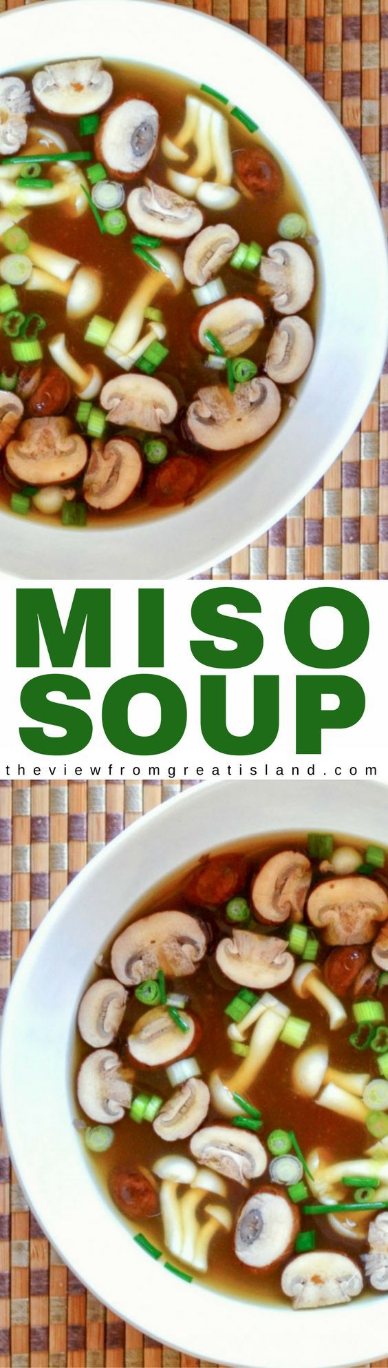 Miso Soup is the original health food, it's been nourishing the Japanese for centuries, and you can make it yourself in minutes. I would leave out the tofu!