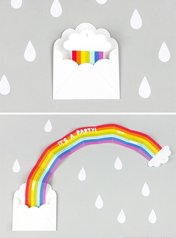 DIY Surprise Rainbow Party Invitation by Mr Printable. Awesome!